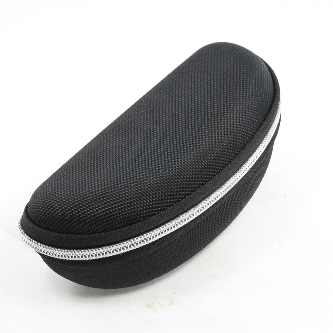 Black Bean Shape Silver Tone Zipper Closure Eyewear Eyeglasses Holder Case