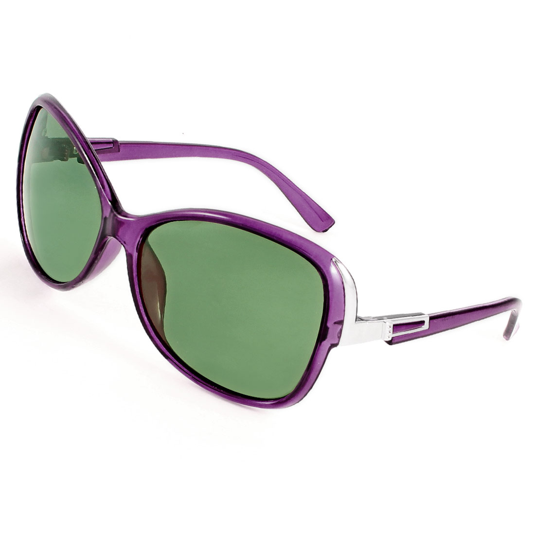 Outdoor Sports Purple Plastic Arms Single Bridge Polarized Sunglasses for Ladies