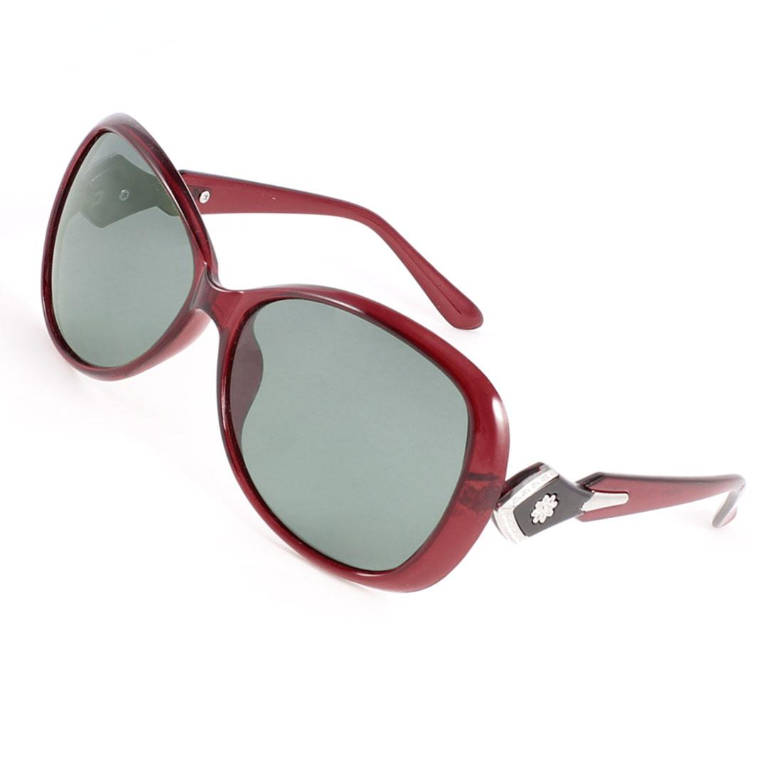 Woman Red Plastic Flower Decor Arms Full Frame Single Bridge Polarized Sunglasses