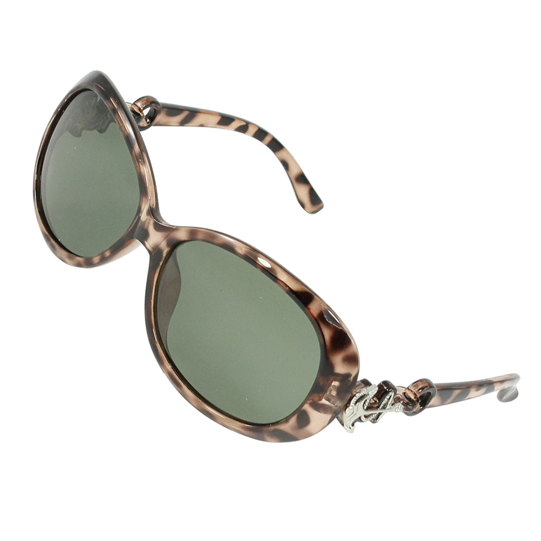 Ladies Leopard Print Plastic Arms Full Frame Green Lens Polarized Sunglasses