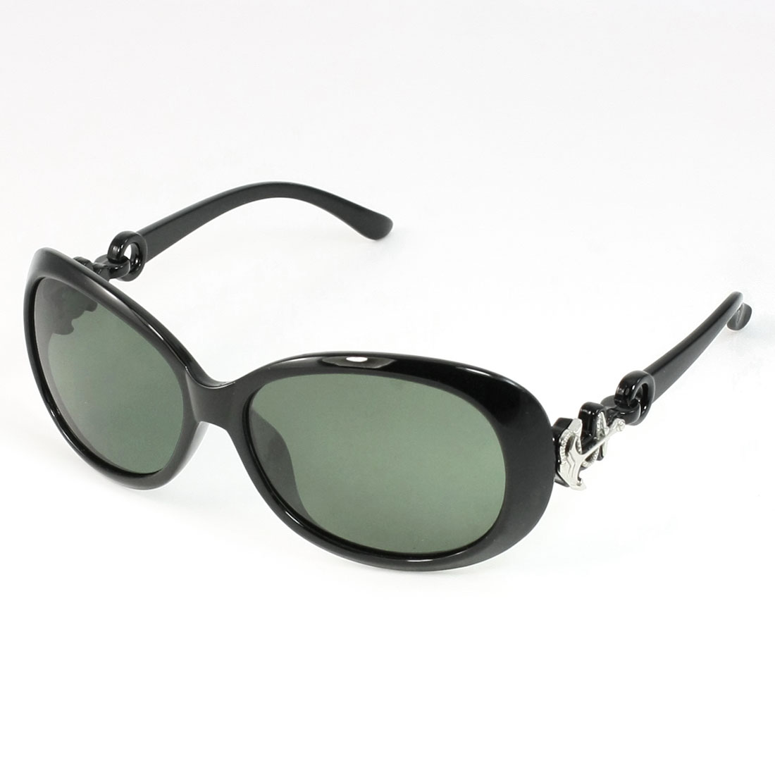 Ladies Outdoor Green Lens Plastic Black Frame Polarized Sunglasses Eyewear