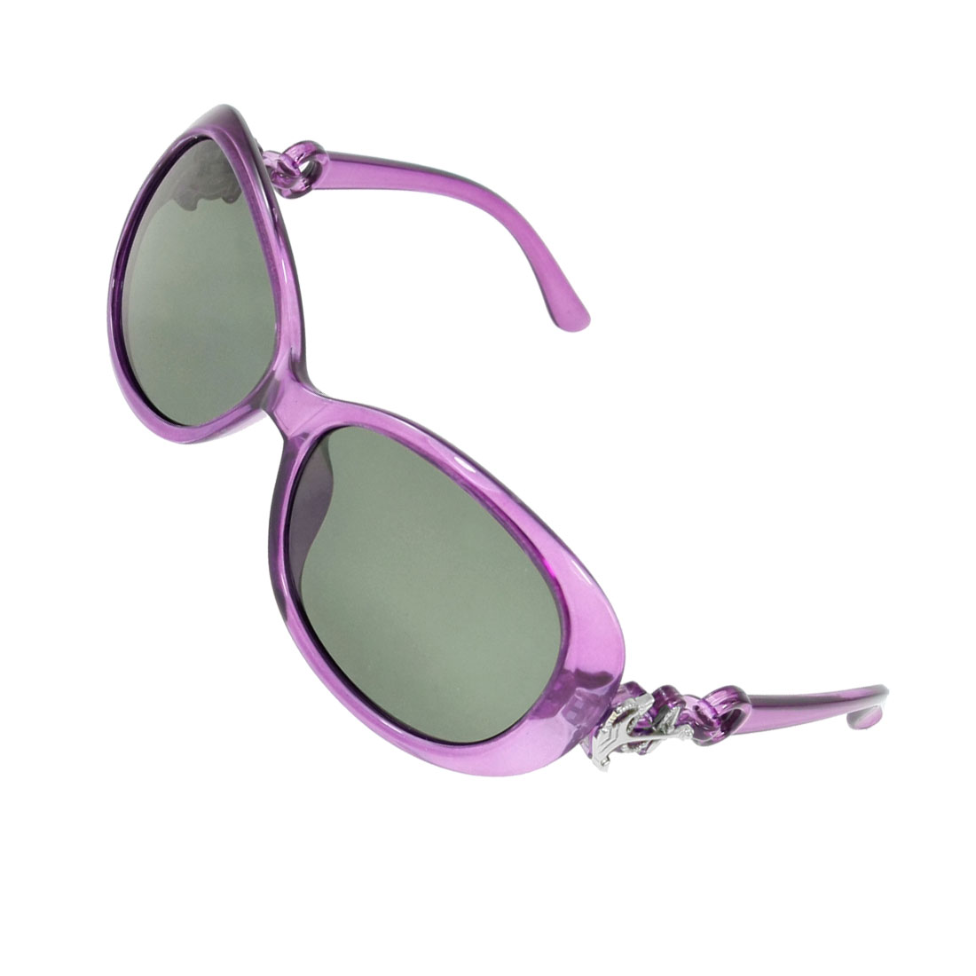 Lady Woman Green Lens Clear Purple Frame Polarized Sunglasses Eyeglasses