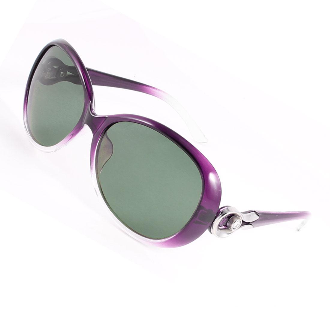 Driving Woman Red Plastic Rhinestone Decor Arms Single Bridge Polarized Sunglasses