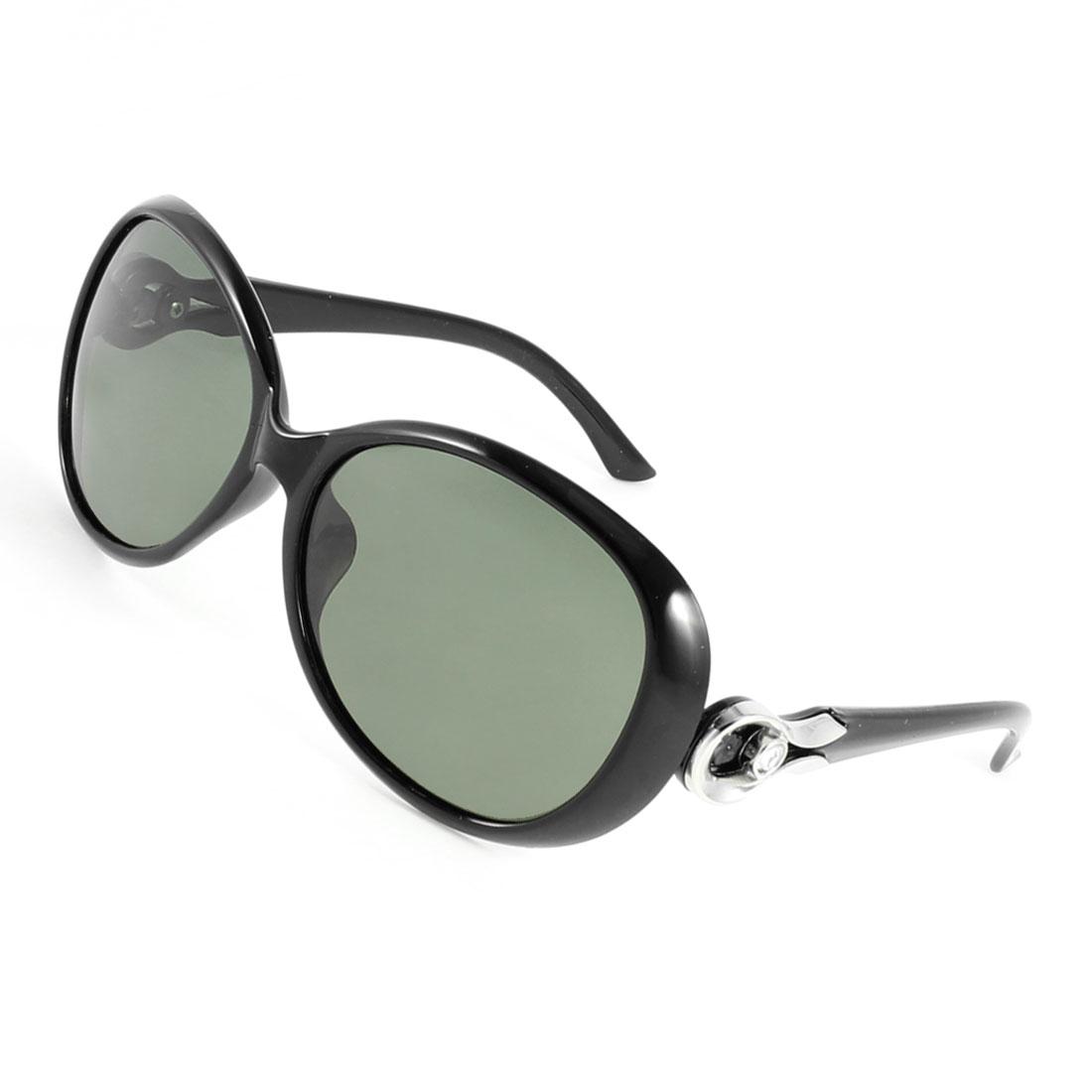 Black Plastic Rhinestone Detail Arm Teardrop Lens Polarized Sunglasses for Lady