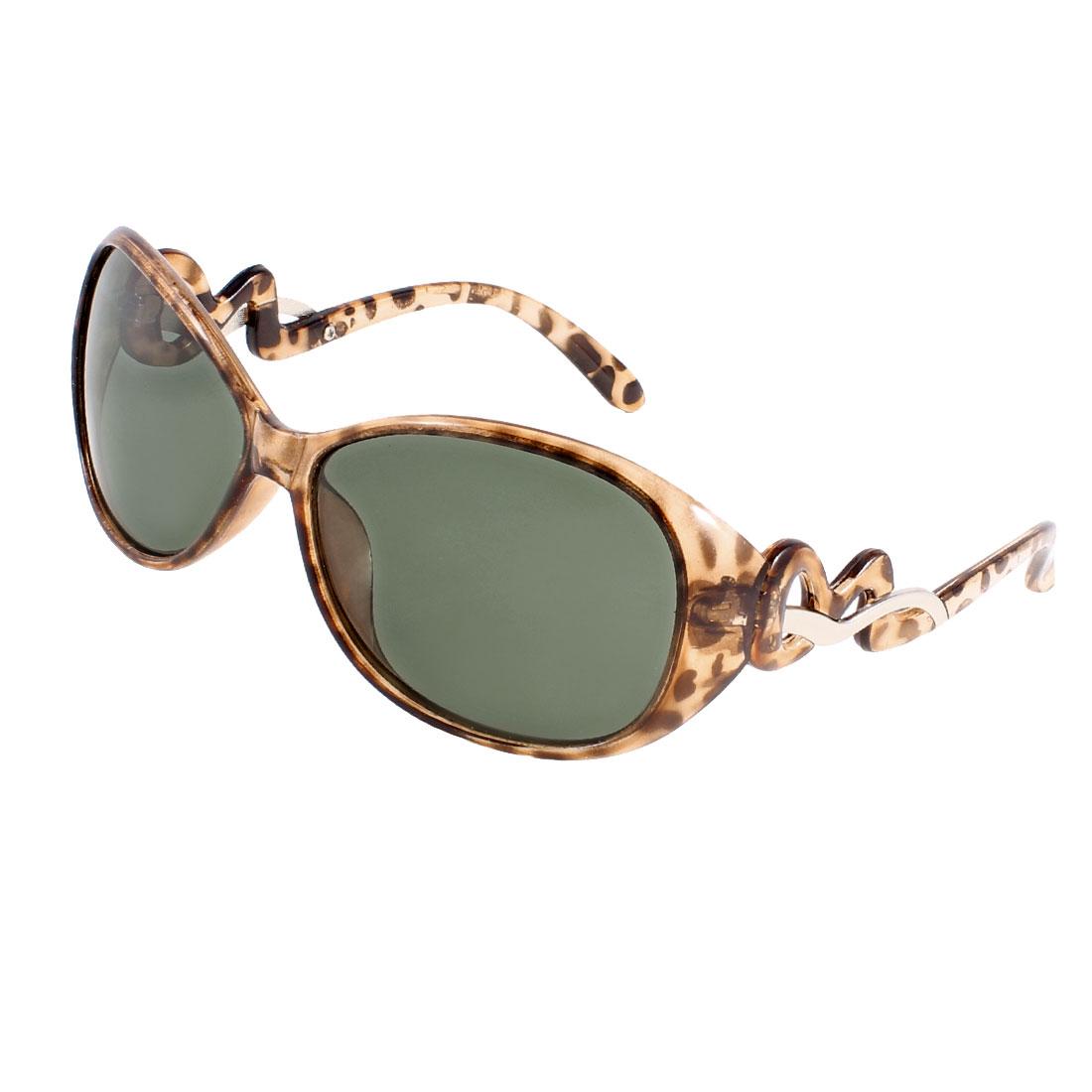 Woman Brown Plastic Full Rim Single Bridge Polarized Sunglasses