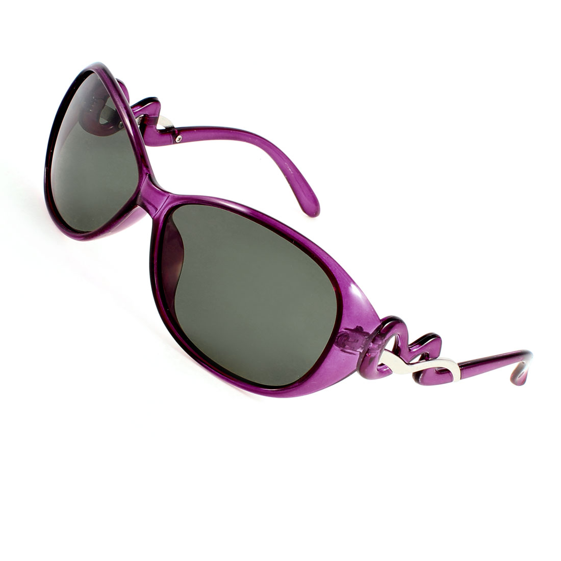 Purple Plastic Full Frame Teardrop Lens Polarized Sunglasses for Ladies Women