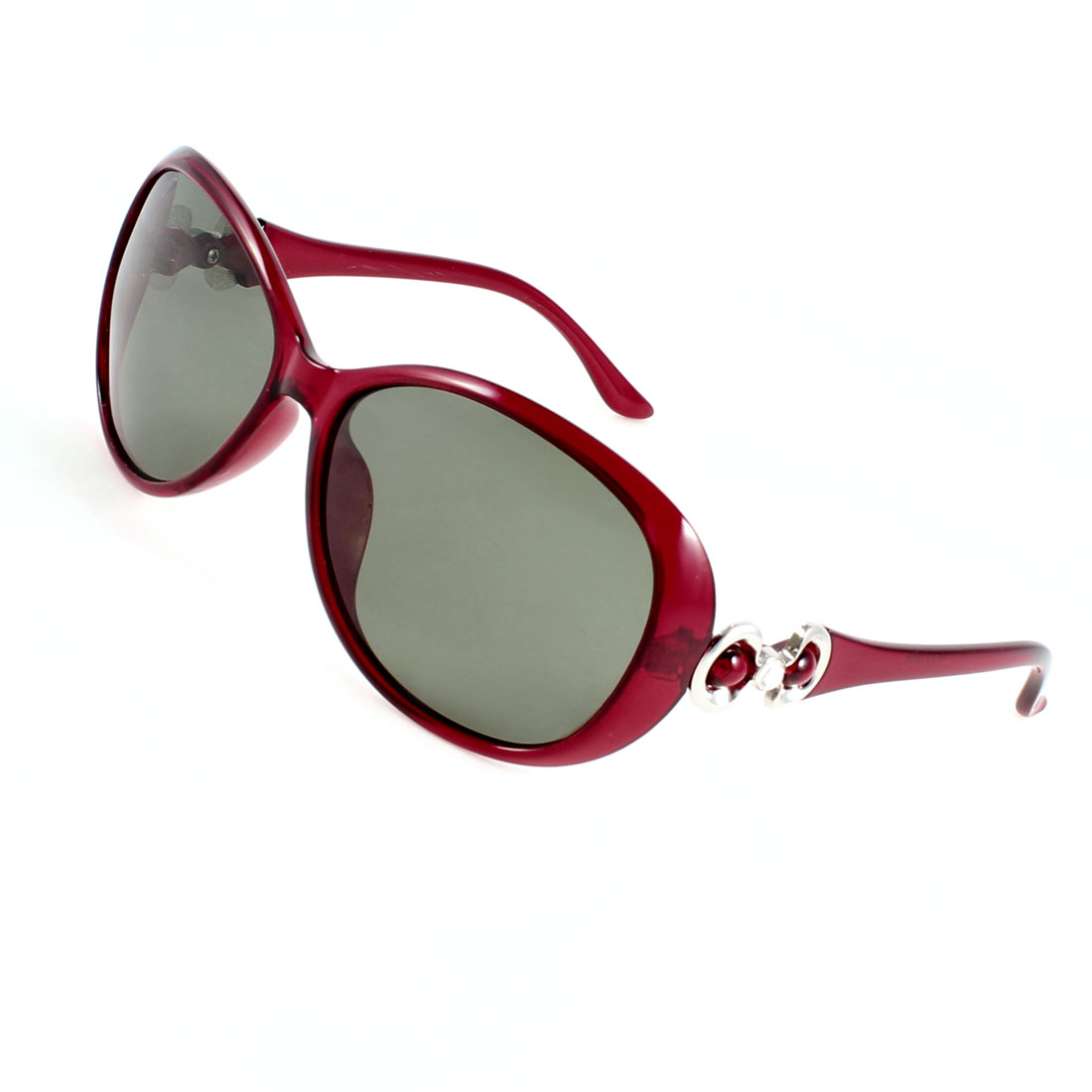 Ladies Red Plastic Bowtie Detail Arms Single Bridge Polarized Sunglasses