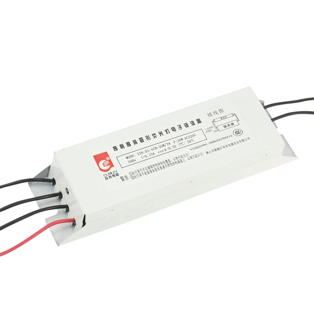 AC 220V 0.15A Wired Alloy Shell 6 Terminals Fluorescent Light Ballasts 20W