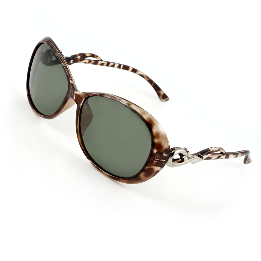Woman Brown Leopard Pattern Full Frame Single Bridge Polarized Sunglasses