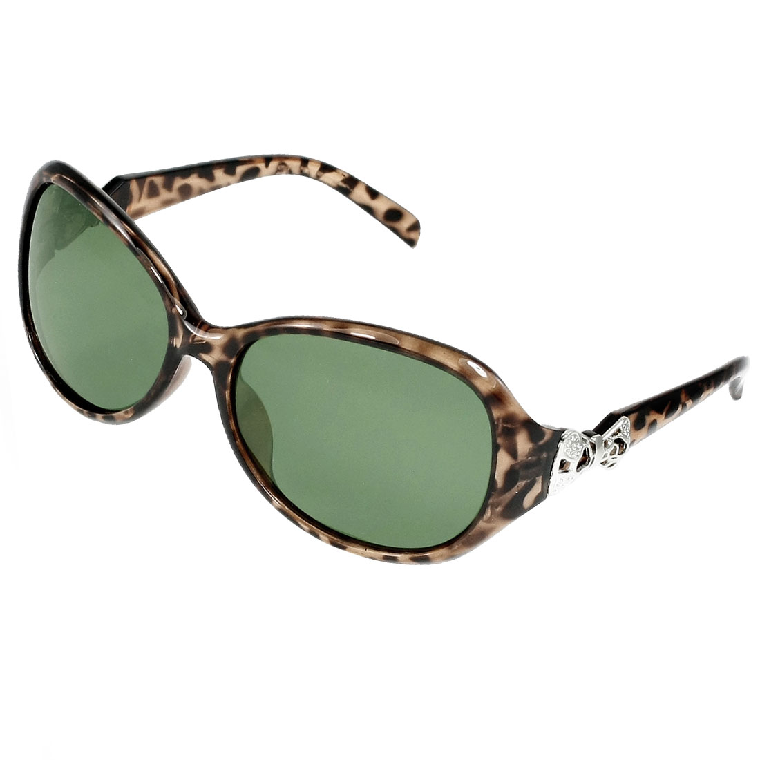 Women Coffee Color Leopard Print Full Frame Green Lens Polarized Sunglasses