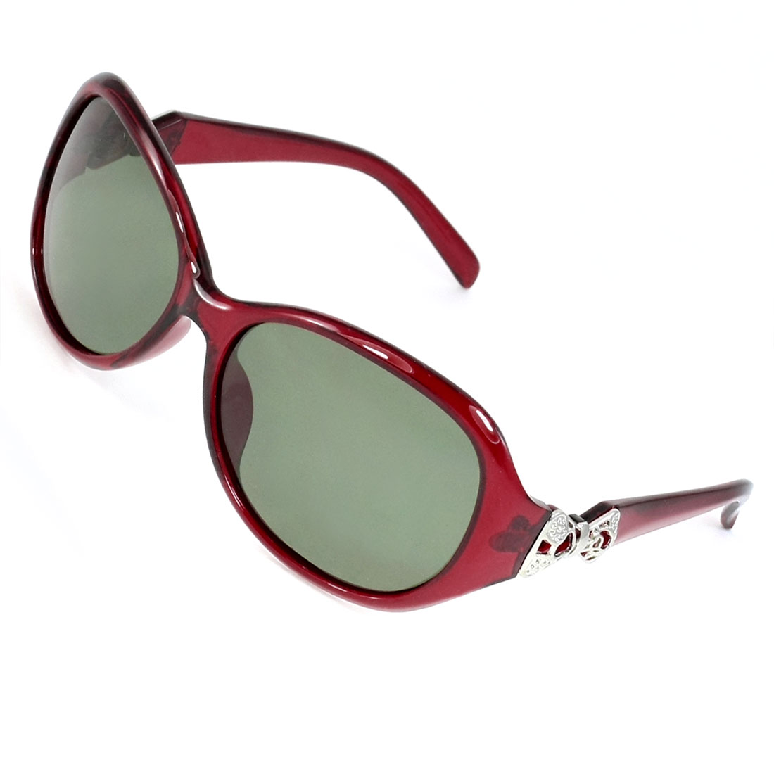 Women Green Lens Plastic Burgundy Full Frame Polarized Sunglasses Eyewear