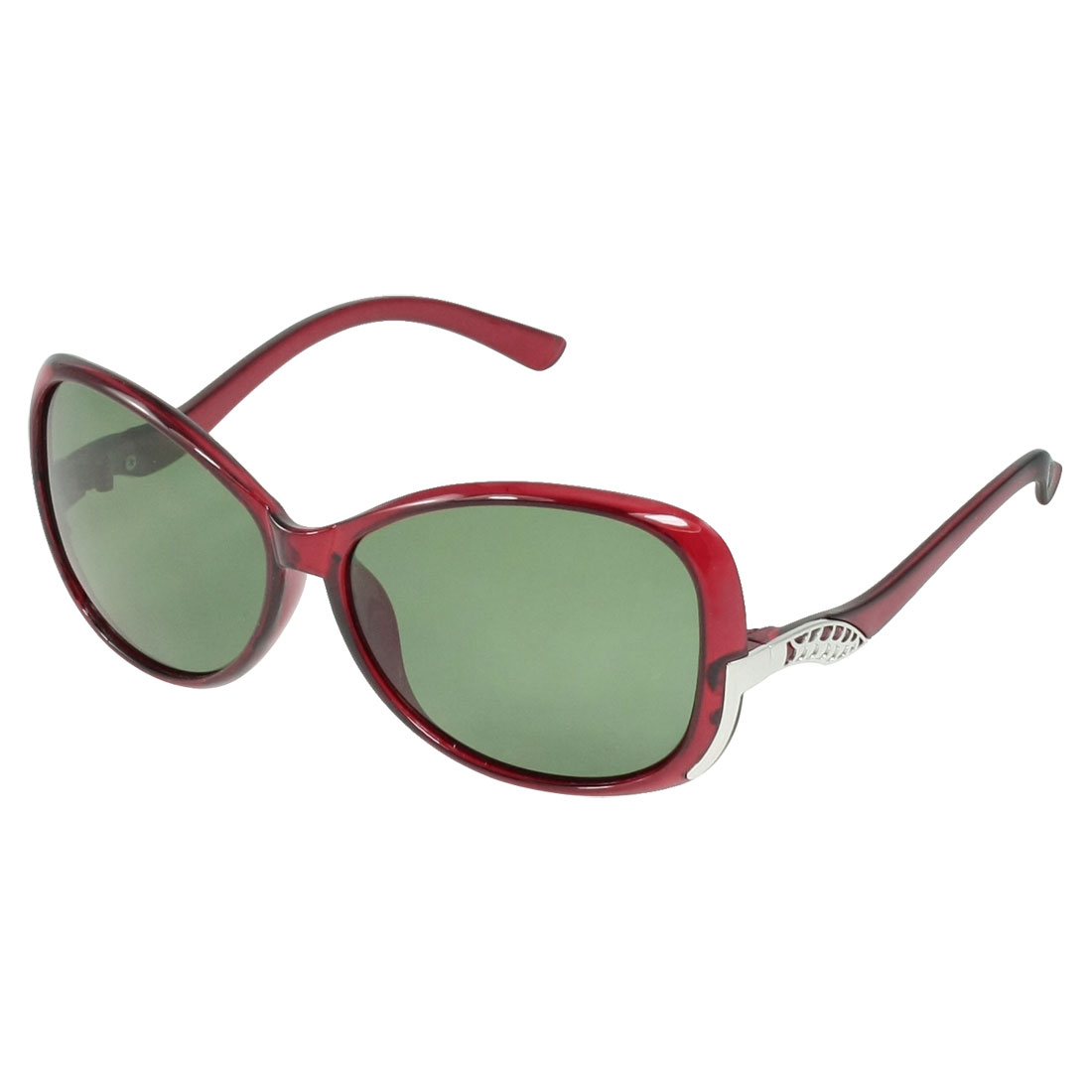 Lady Woman Green Lens Plastic Burgundy Full Frame Polarized Sunglasses