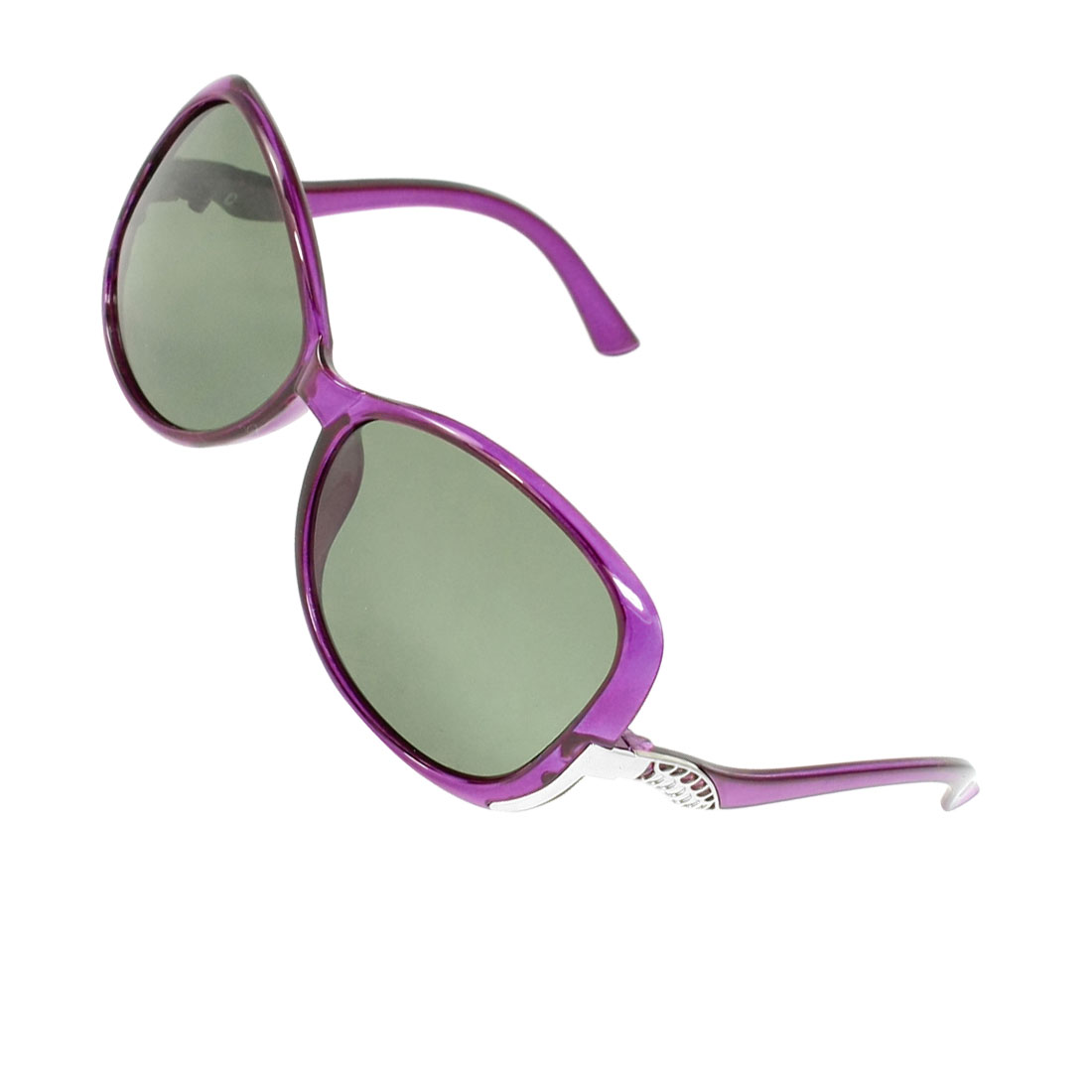 Green Lens Plastic Purple Frame Polarized Sunglasses for Ladies