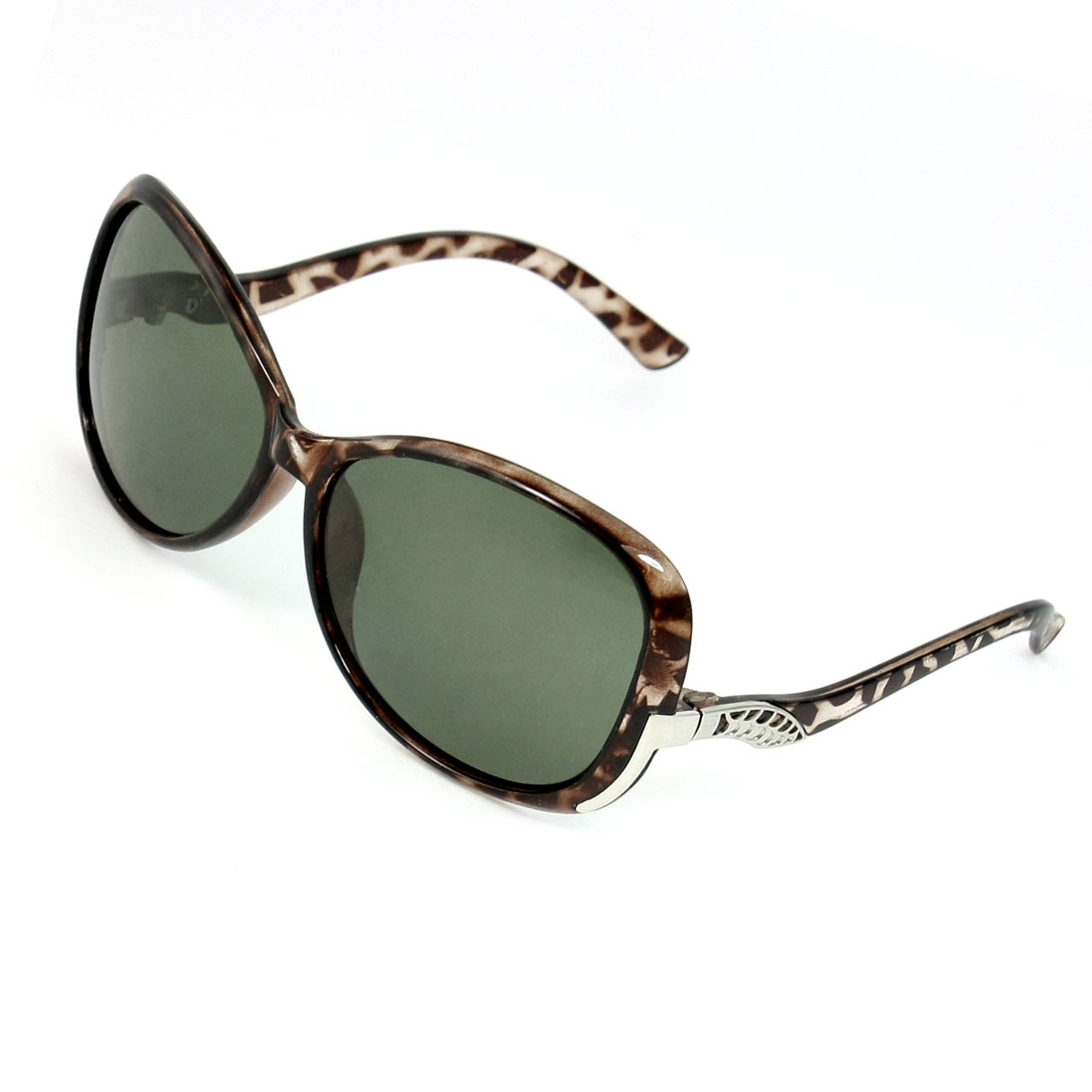 Ladies Coffee Color Leopard Print Green Lens Full Rim Polarized Sunglasses