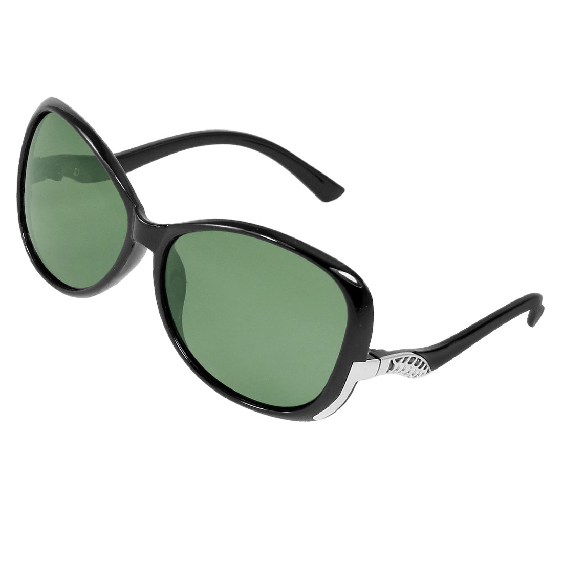 Green Lens Plastic Black Frame Polarized Sunglasses Eyeglasses for Lady