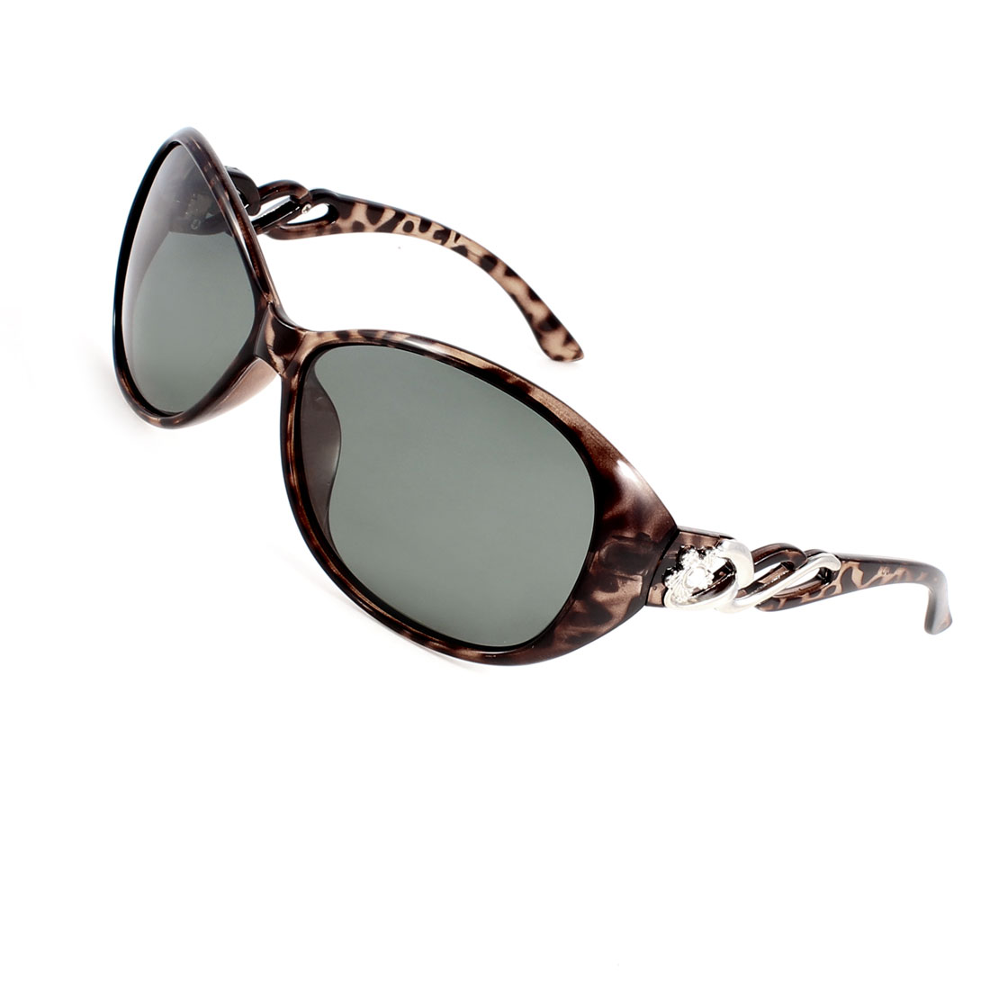 Women Outdoor Flower Rhinestone Decor Arms Eyeglasses Polarized Sunglasses Brown