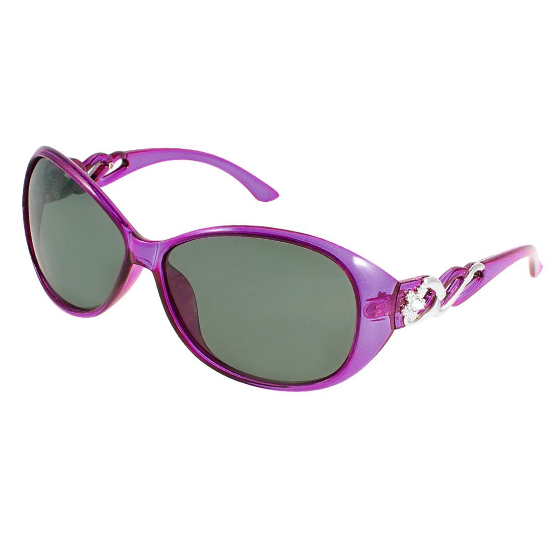 Lady Purple Plastic Rhinestone Flower Adorning Single Bridge Polarized Sunglasses