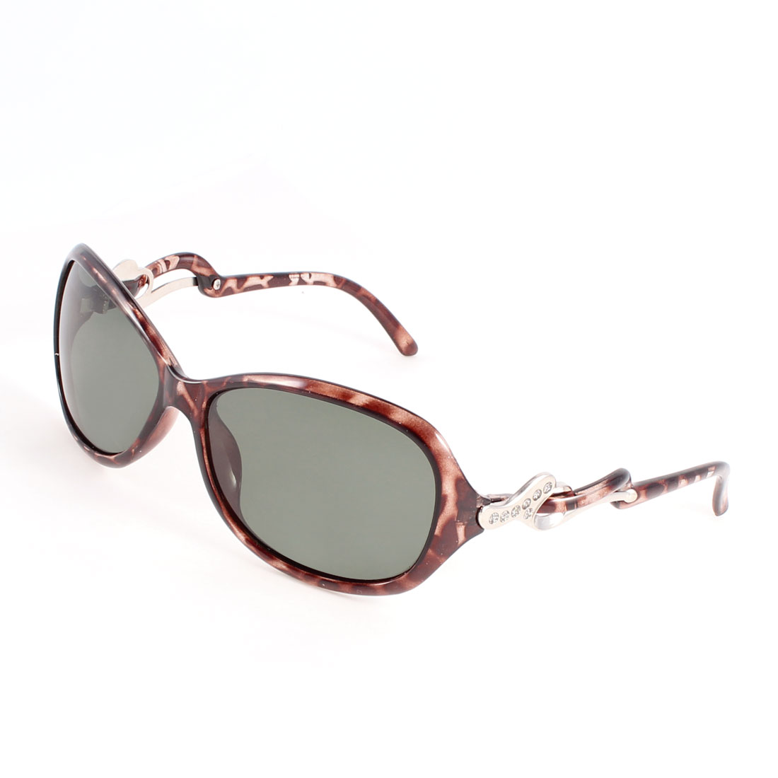 Brown Plastic Glitter Powder Detail Arm Teardrop Shape Lens Polarized Sunglasses for Lady