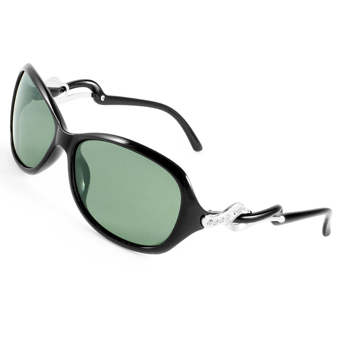 Ladies Women Glitter Powder Decor Full Rim Eyeglasses Polarized Sunglasses Black