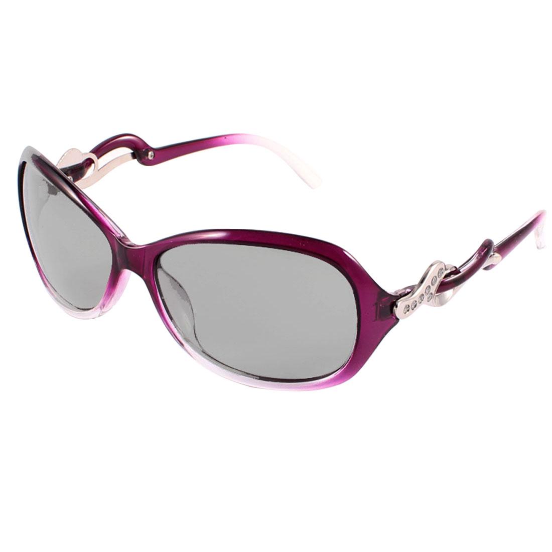 Lady Plastic Glitter Powder Detail Arm Teardrop Lens Polarized Sunglasses Purple