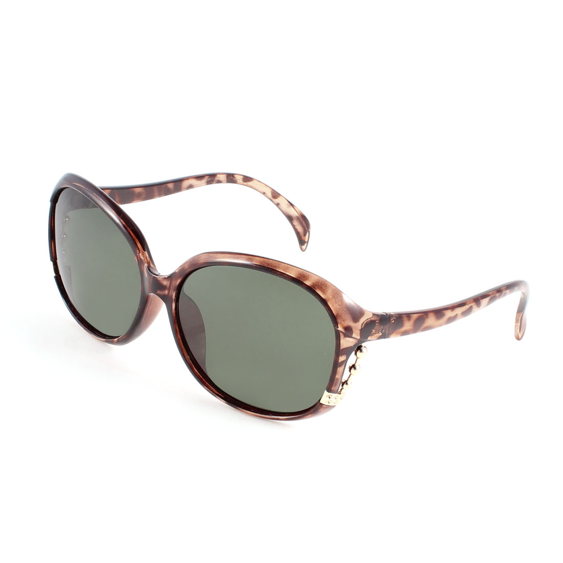 Ladies Metal Beads Accent Teardrop Lens Eyeglasses Polarized Sunglasses Brown