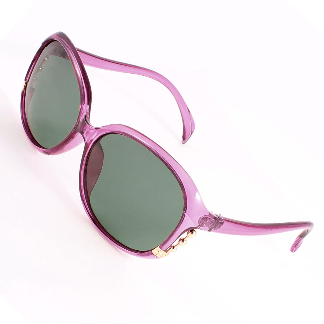 Driving Plastic Full Rim Metal Beads Decor Polarized Sunglasses Purple for Women