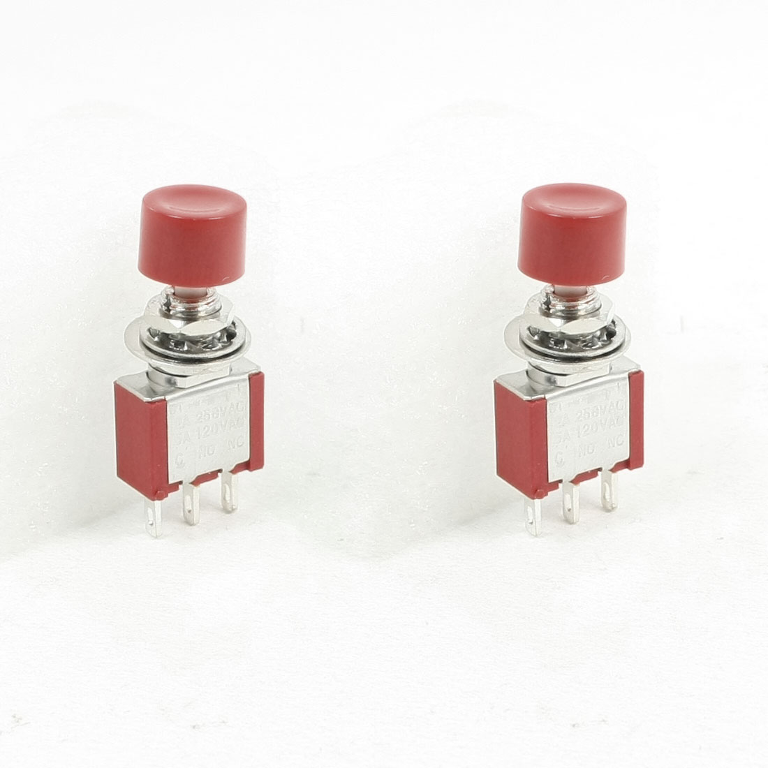AC 250V 2A 6A AC 250V N/O Normally Open Momentary Pushbutton Switch Red 2 PCS