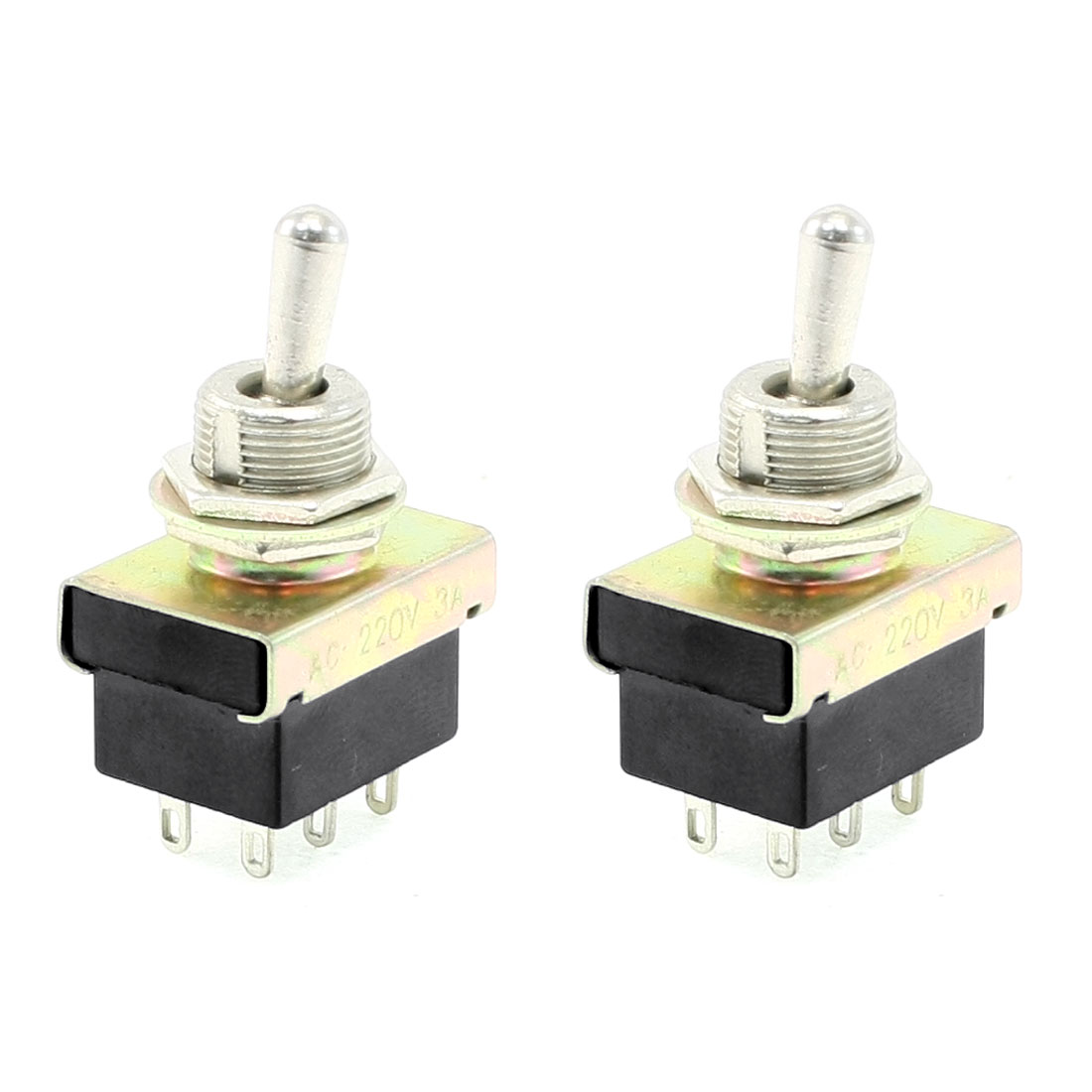 3A/220VAC ON/ON DPDT 2 Position 6-Terminals Toggle Switch 2 Pcs