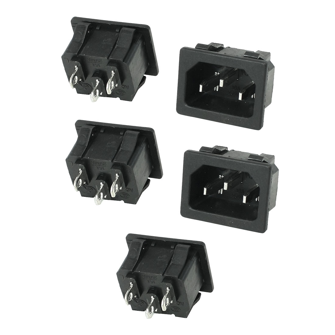 5 Pcs Panel Mounting IEC 60320 Male Power Supply Connector 15A AC 250V