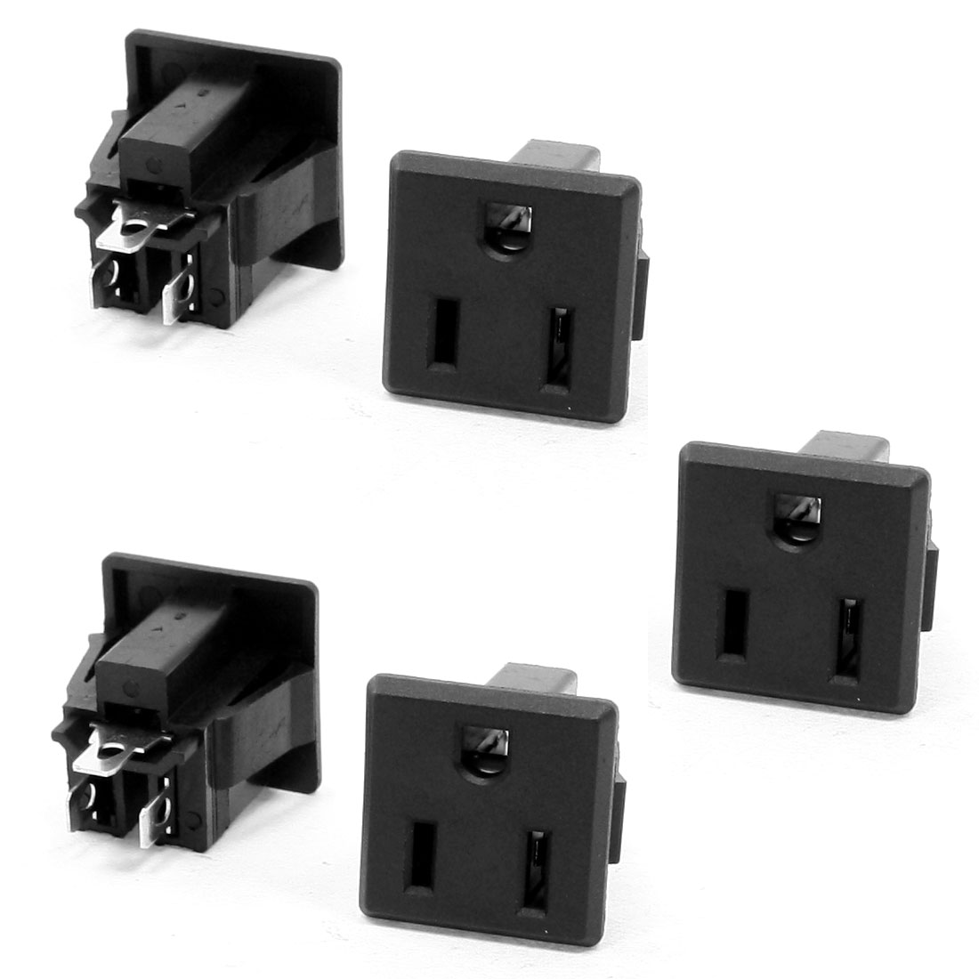 15A 250VAC US 3 Pin Inlet Female Power Socket 5 Pcs