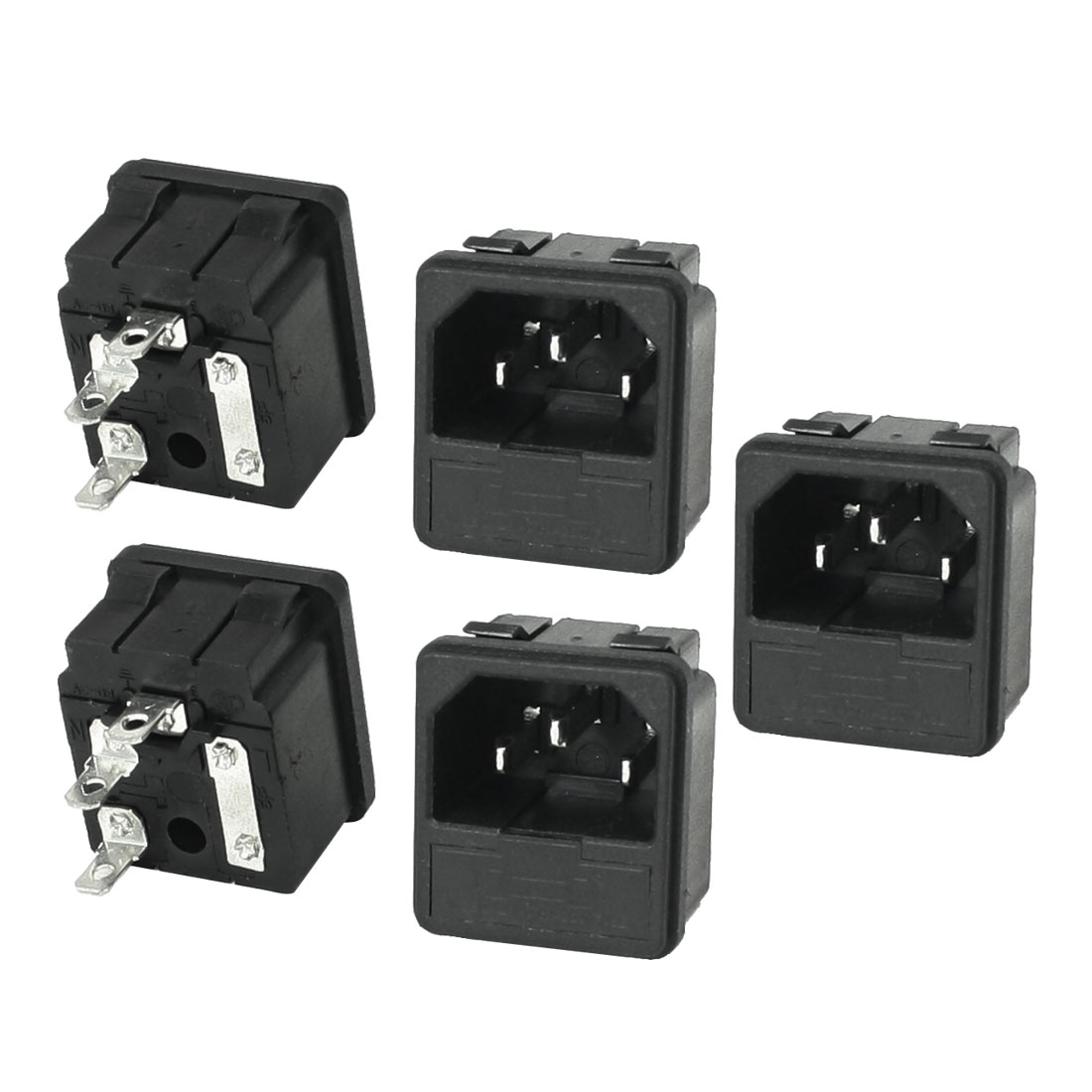 5 Pcs Panel Mounted 3P C14 Inlet Male Power Connector 10A AC 250V