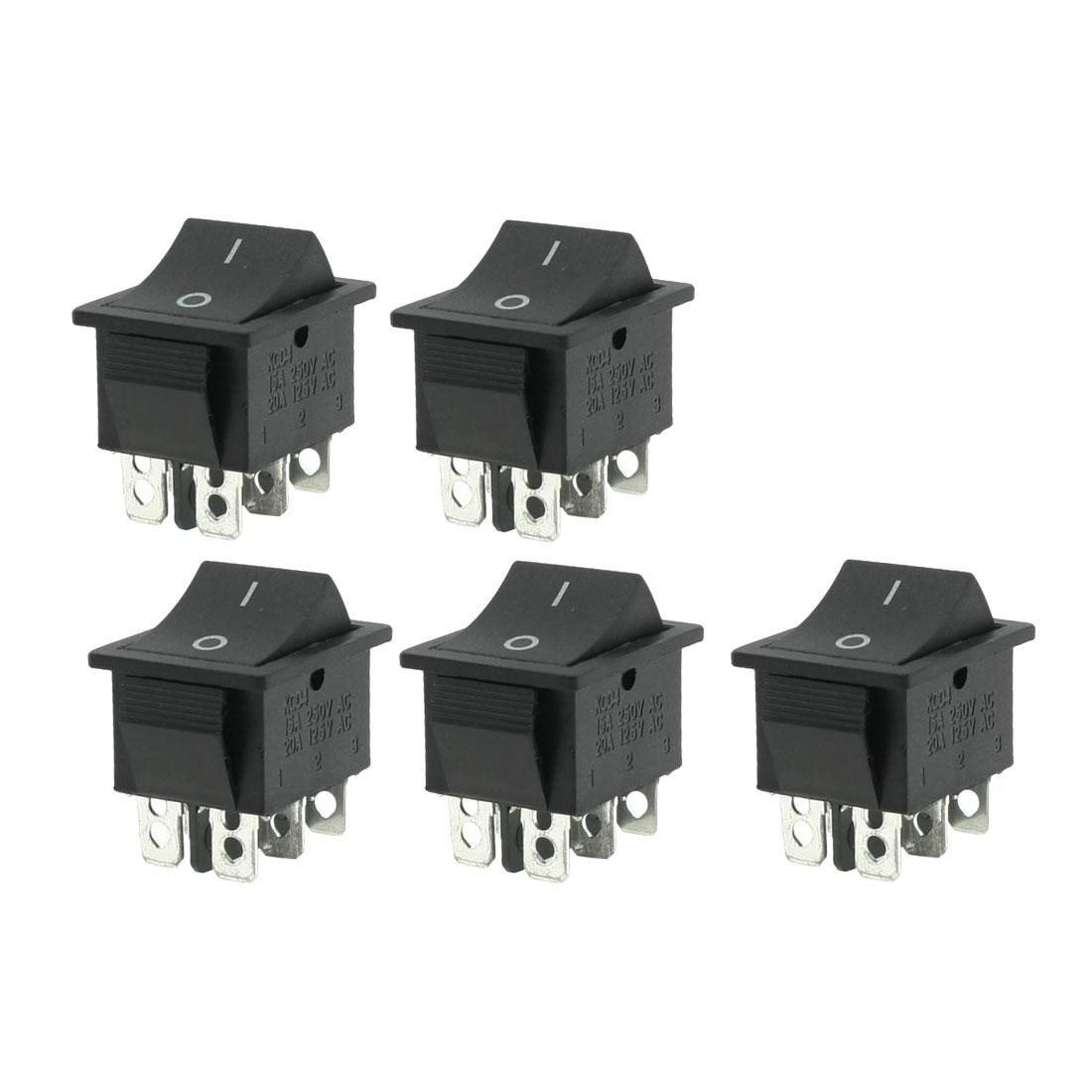 5 Pcs DPDT Black 4 Pins On/Off Rocker Switch AC 250V 15A 125V 20A
