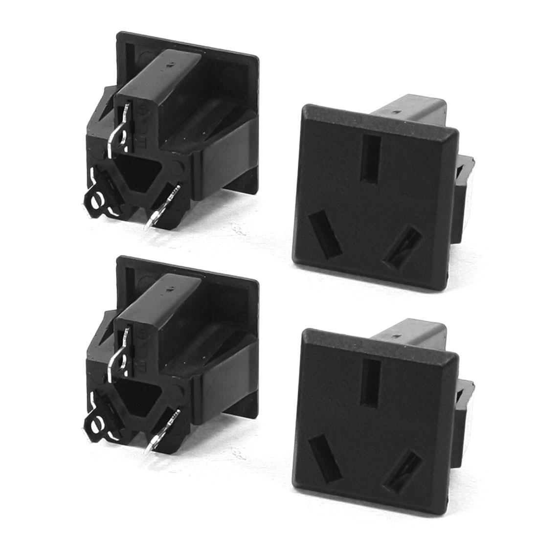 4 Pcs Square Shaped AU 3 Terminals Plug Power Socket Adapter AC 250V 15A