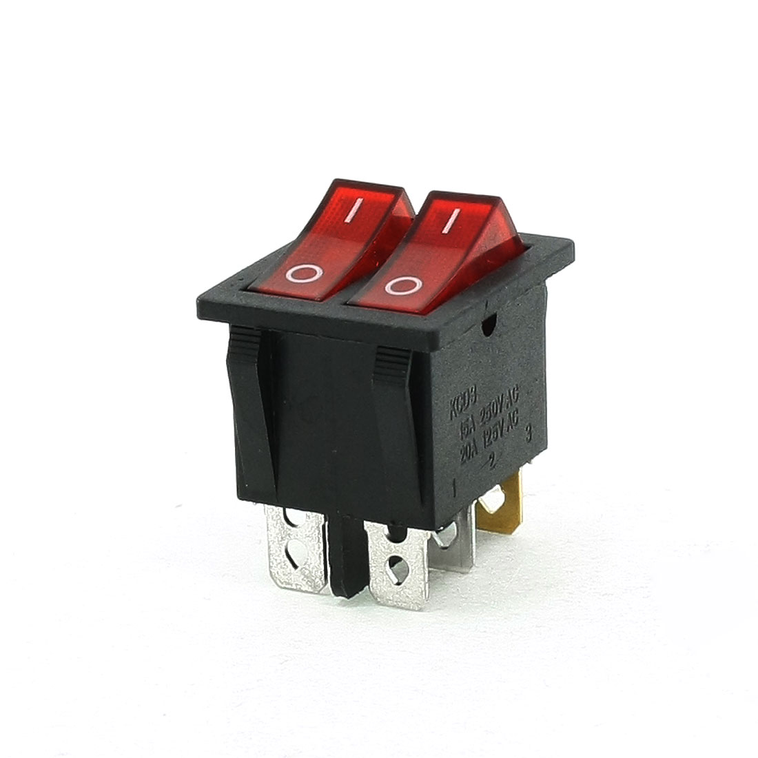 AC 250V/15A 125V/20A 6 Pin SPST On/Off Neon Light Rocker Switch