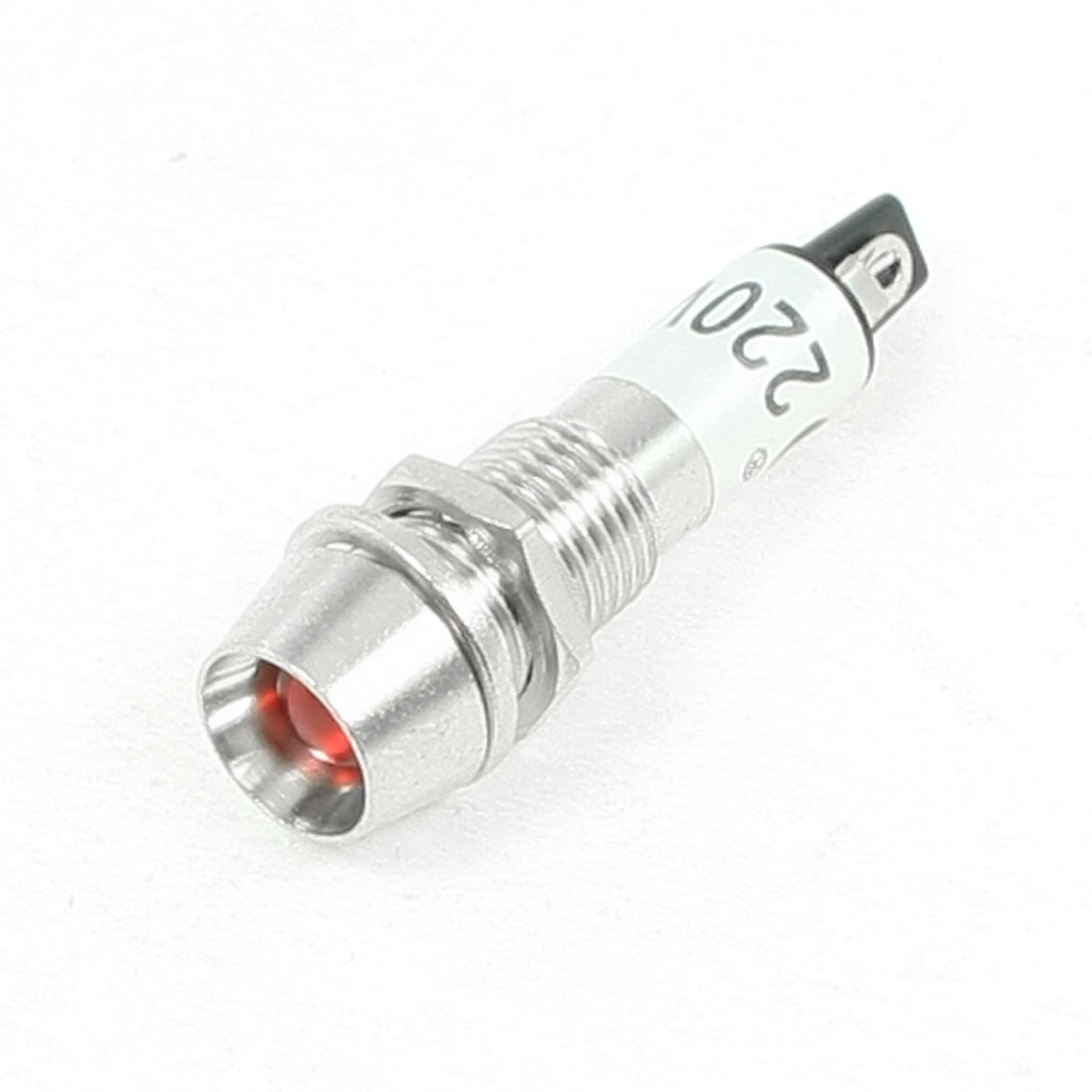 220VAC 7.7mm Thread Red Bulb Power Signal Indicator Pilot Light Lamp XD8-1