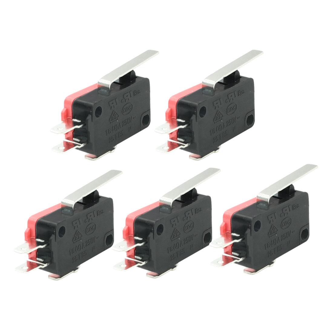 5 Pcs 1NO+1NC Srew Connector Actuator Limit Micro Switch 16A 4A 250VAC