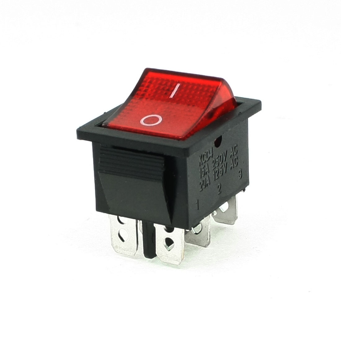 5 Pcs Red AC 15A/250V 20A/125V DPDT On-On 6 Pin Boat Rocker Switches