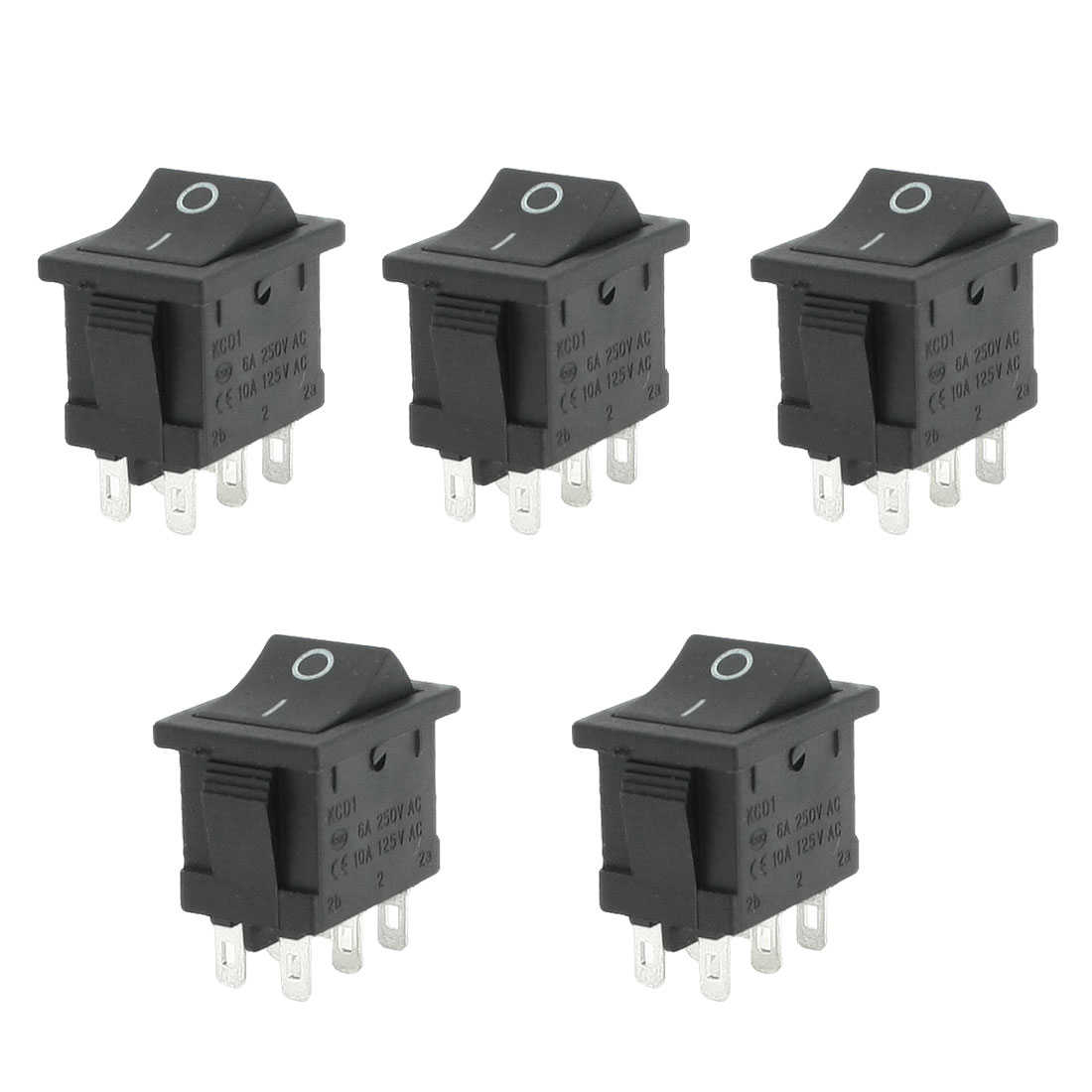 5pcs AC 6A/250V 10A/125V 6 Pin DPDT ON/ON 2 Position Snap in Boat Rocker Switch
