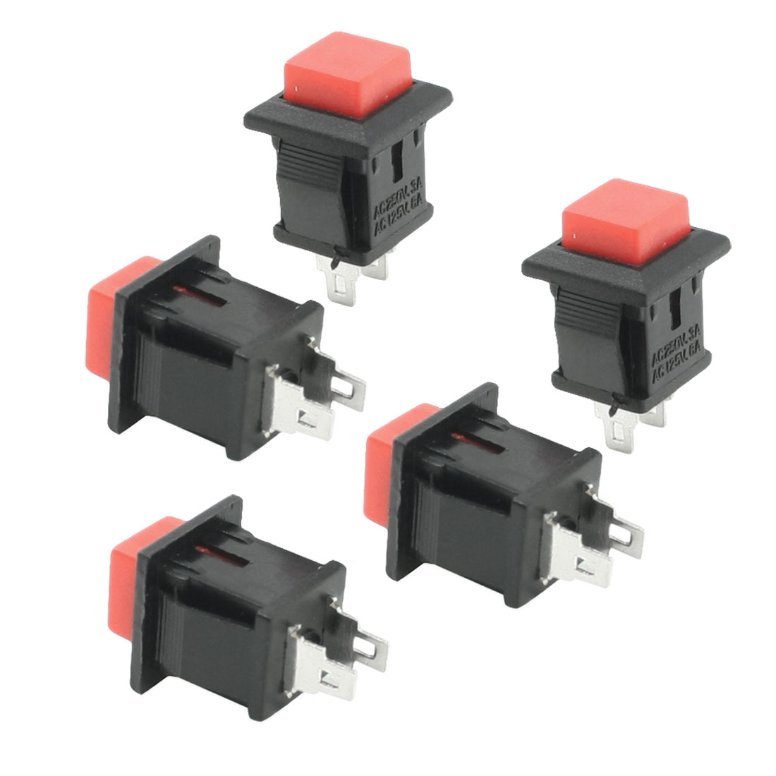5 Pcs Red Momentary Dash OFF-ON Push-Button Car Switch AC 3A/125V 1A/250V