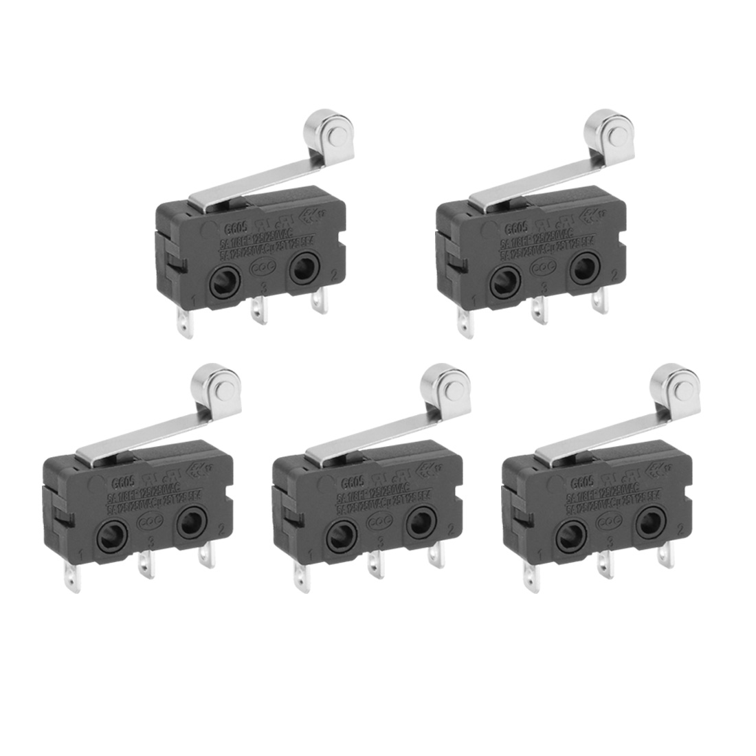 5 Pcs Micro Limit Switch Metal Roller Arm Subminiature SPDT Snap Action LOT