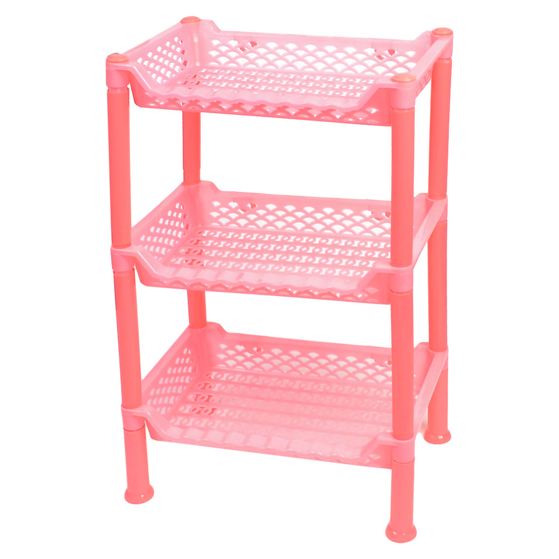 Houeshold Detachable Pink Plastic 3 Layers Shelf Storage Rack Organizer