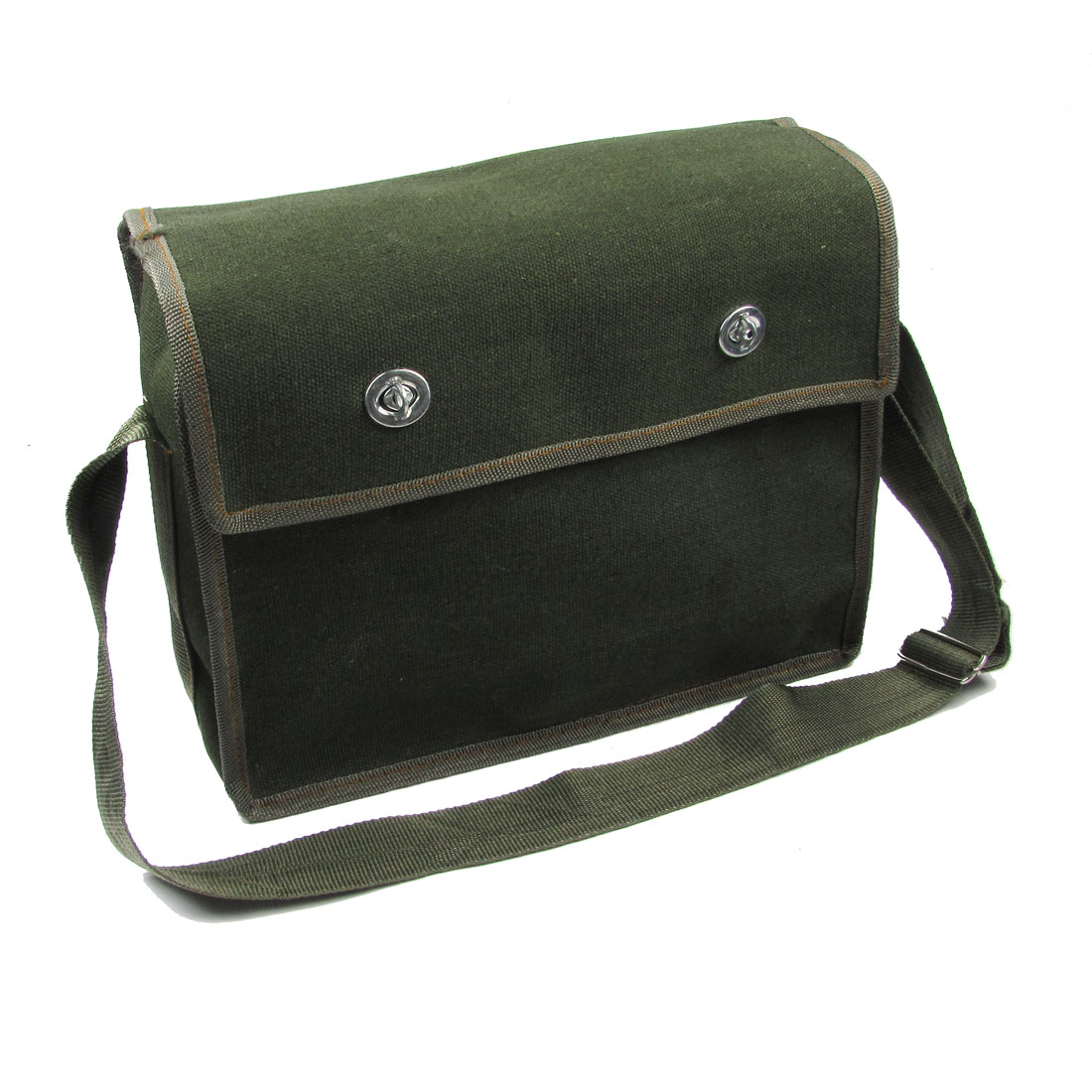Adjustable Shoulder Strap Double Pockets Army Green Electrician Canvas Bag
