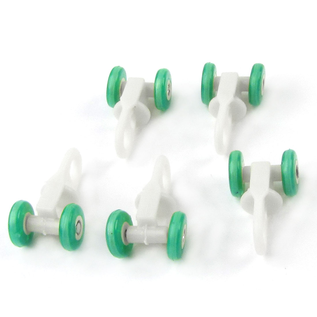 "5 Pcs 0.51"" Dia. Green Plastic Wheels White Curtain Track Rollers"