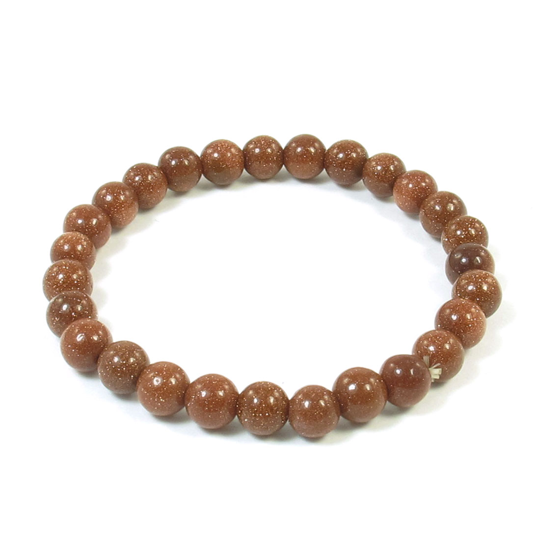 6mm Brown Round Plastic Goldstone Beads Bunch Elasticated Bracelet for Ladies