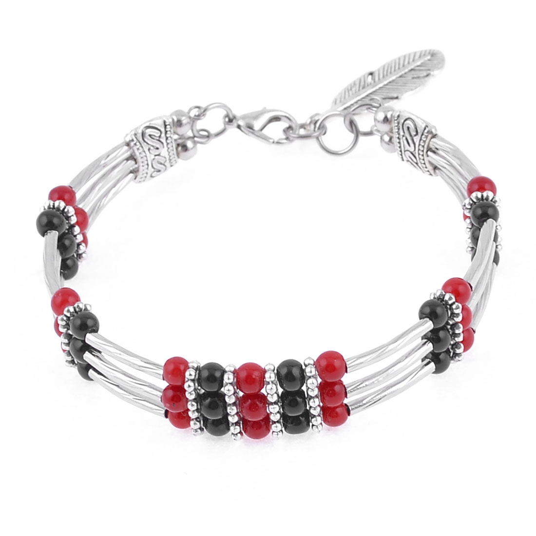 Woman Silver Tone Feather Pandent Lobster Closure Round Beeded National Bracelet
