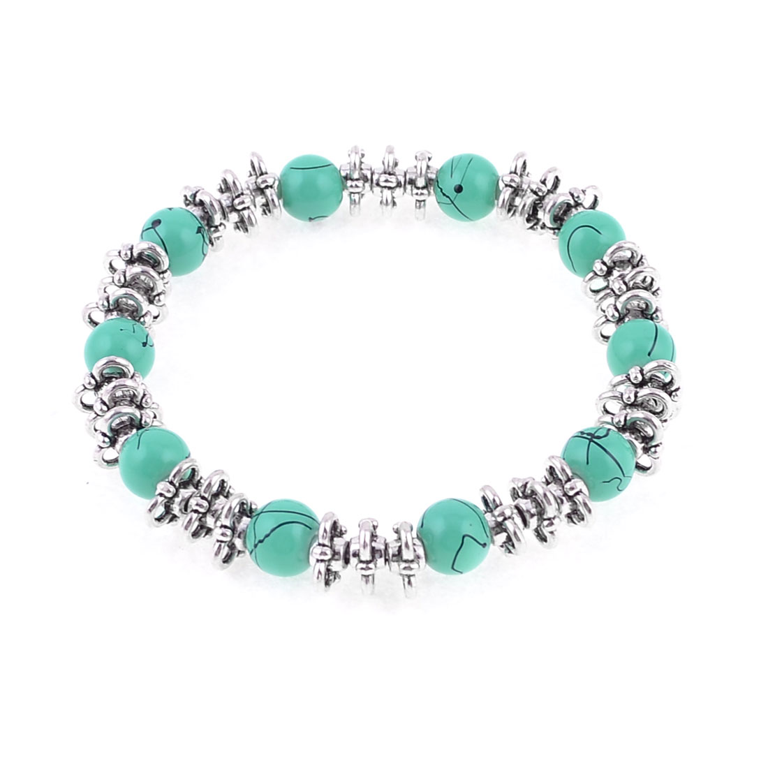 Ladies Cyan Beeds Connected Chinese Hand-woven National Wind Braclet Wrist