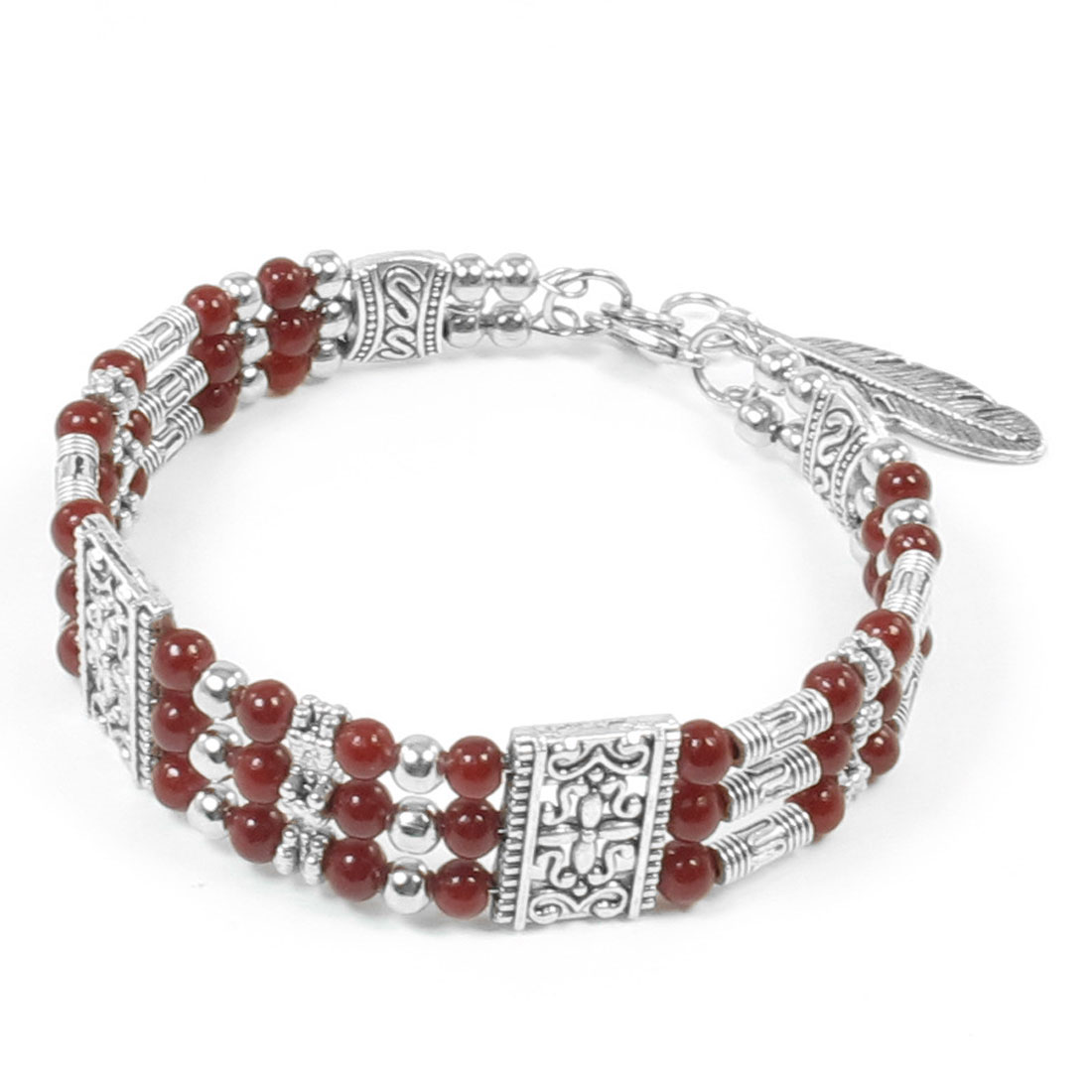Women Red Silver Tone Round Beads Inlaid Chinese Hand-woven National Bracelet
