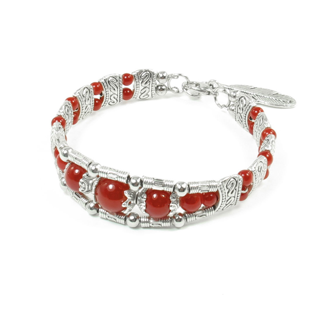 Ladies Lobster Closure Mini Cylinder Connected National Bracelet Red Silver Tone