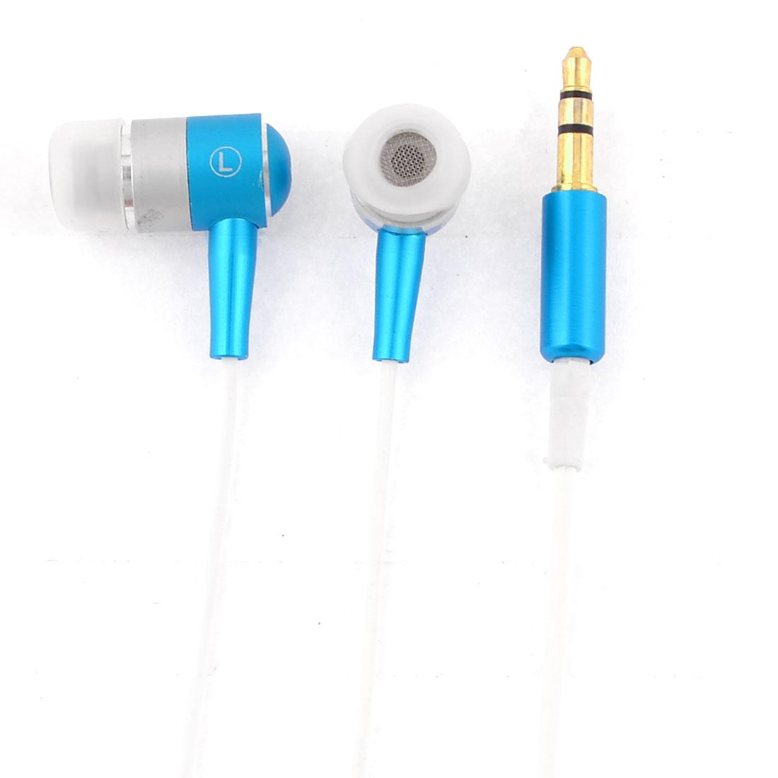 135cm Length 3.5mm In Ear Earphone Headphone Earbud Blue White for Mobile Phone