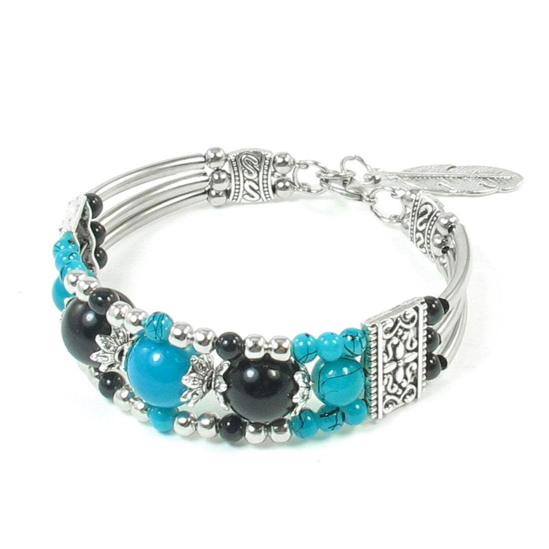 Women Turquoise Black Silver Tone Plastic Round Beads Detail National Bracelet